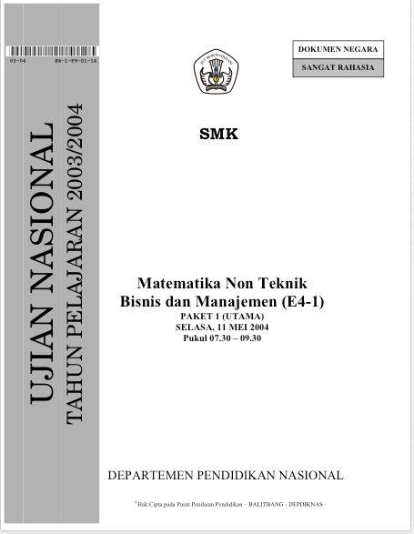 Soal Ujian Nasional Smk Matematika Non Teknik Bisnis Dan Manajemen Soal Test Iq
